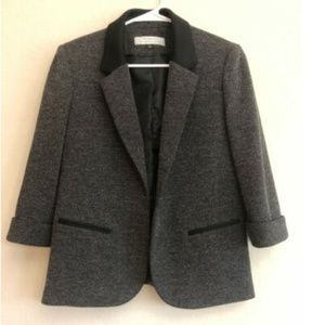Tahari 6 Black Open Front Blazer 3/4 Cuff Sleeve